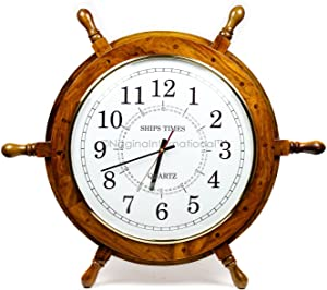 Nagina International Nautical Hand Crafted Wooden Ship Wheel with Quartz Times Wall Clock - Pirate Nursery Home Decor (24 Inches, White Dial Face)