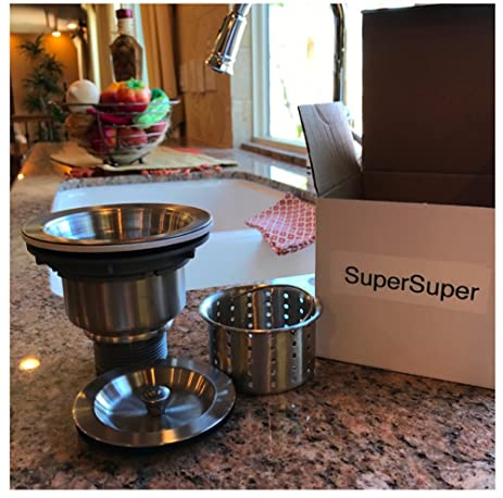 SuperSuper Kitchen Sink Strainer with Removable Deep Waste Basket ...