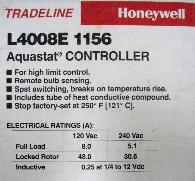 New Honeywell L4008E-1156 AQUASTAT Controller L4008E1156