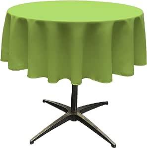 "LA Linen Polyester Poplin Round Tablecloth, 58"", Lime"