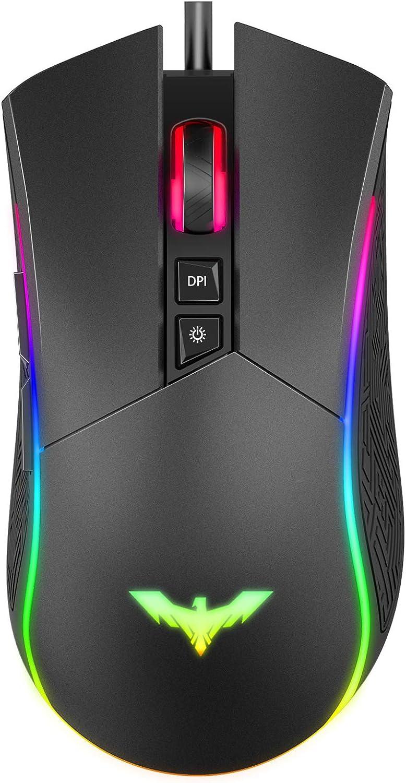 havit Ratón Gaming 7 Botones Mouse Gaming programables Iluminación RGB [800-1600-2400-4800] para Windows7/8/10/Xp/Vista/Linux(MS733)