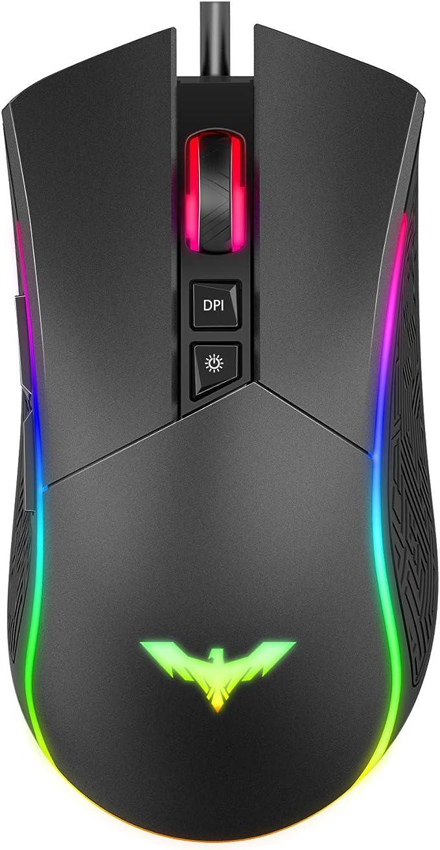 Image of havit Ratón Gaming 7 Botones Mouse Gaming programables Iluminación RGB [800-1600-2400-4800] para Windows7/8/10/Xp/Vista/Linux(MS733)