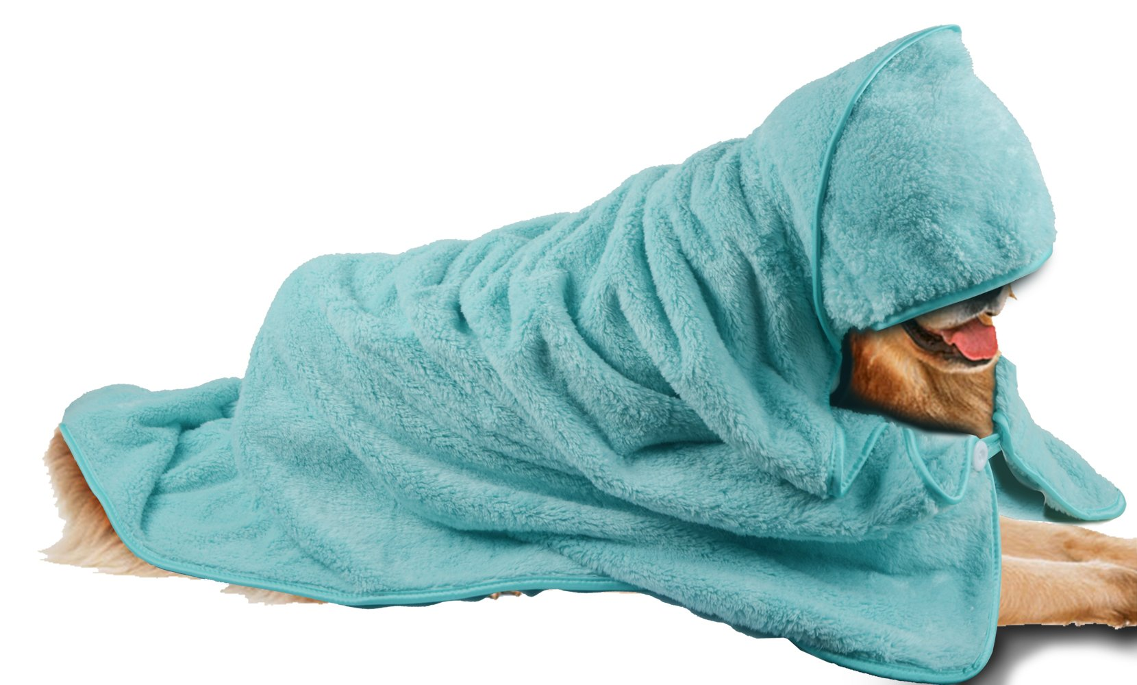 Sinland Microfiber Oversized Hooded Bath Pet Towel for Dogs and Cats Lightcyan 100cm x 100cm