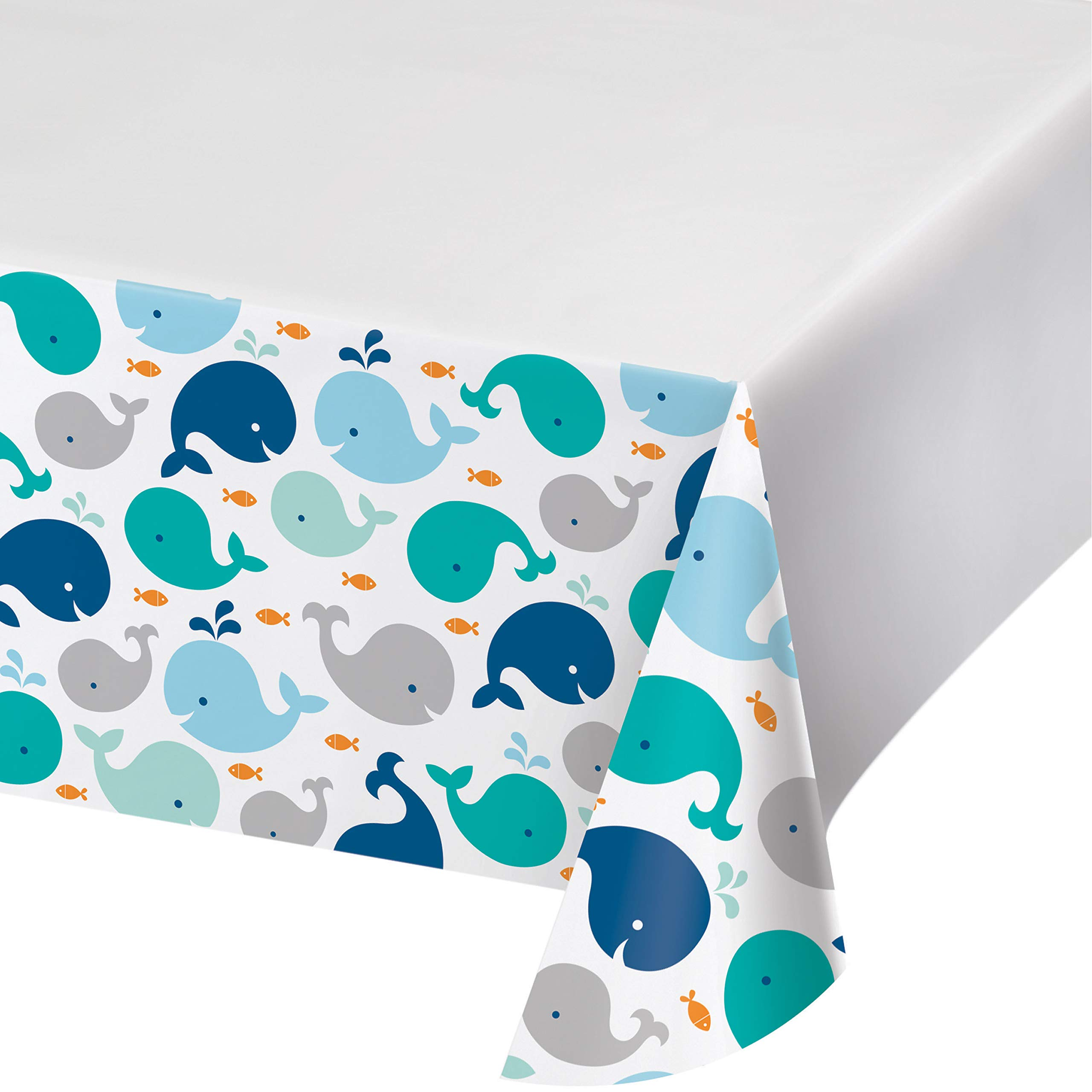 Blue Baby Whale Plastic Tablecloths, 3 ct