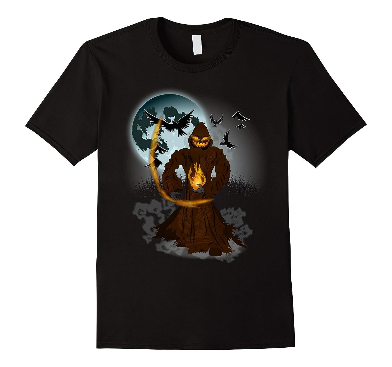 Halloween Pumpkin Jack o Lantern Full Moon and Crows Shirt-TJ