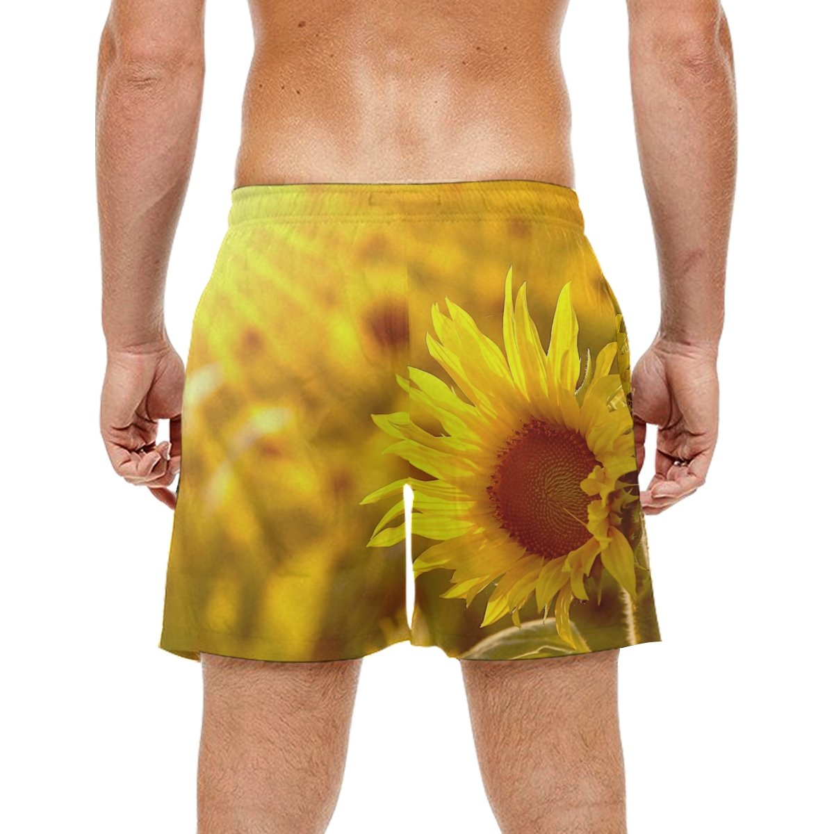 LORVIES Mens Sunflower in The Field Beach Board Shorts Quick Dry Swim Trunk