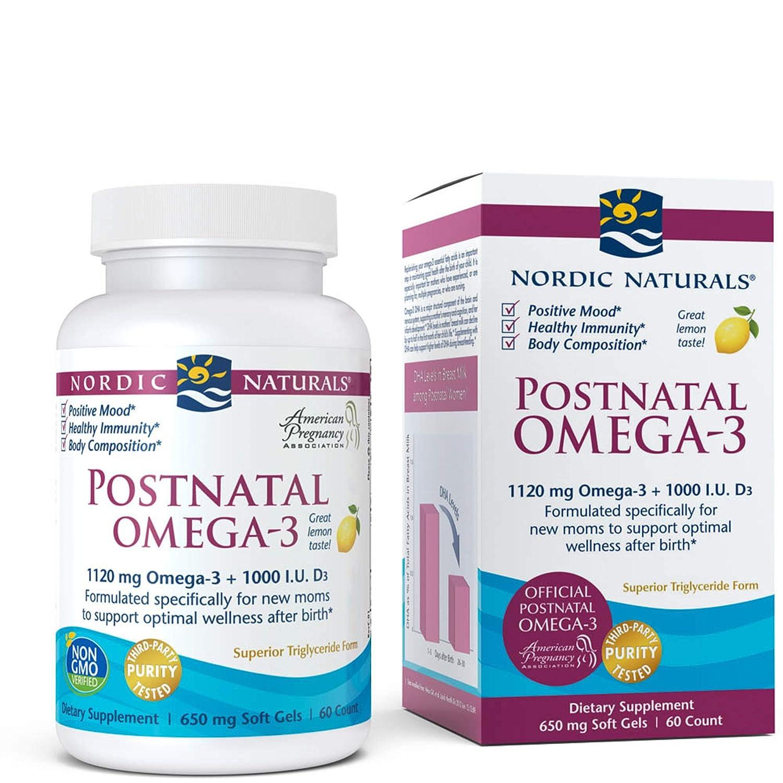 Nordic Naturals - Postnatal Omega-3, Formulated Specifically for New Moms to Support Optimal Wellness After Birth, Lemon, 60 Soft Gels (FFP)