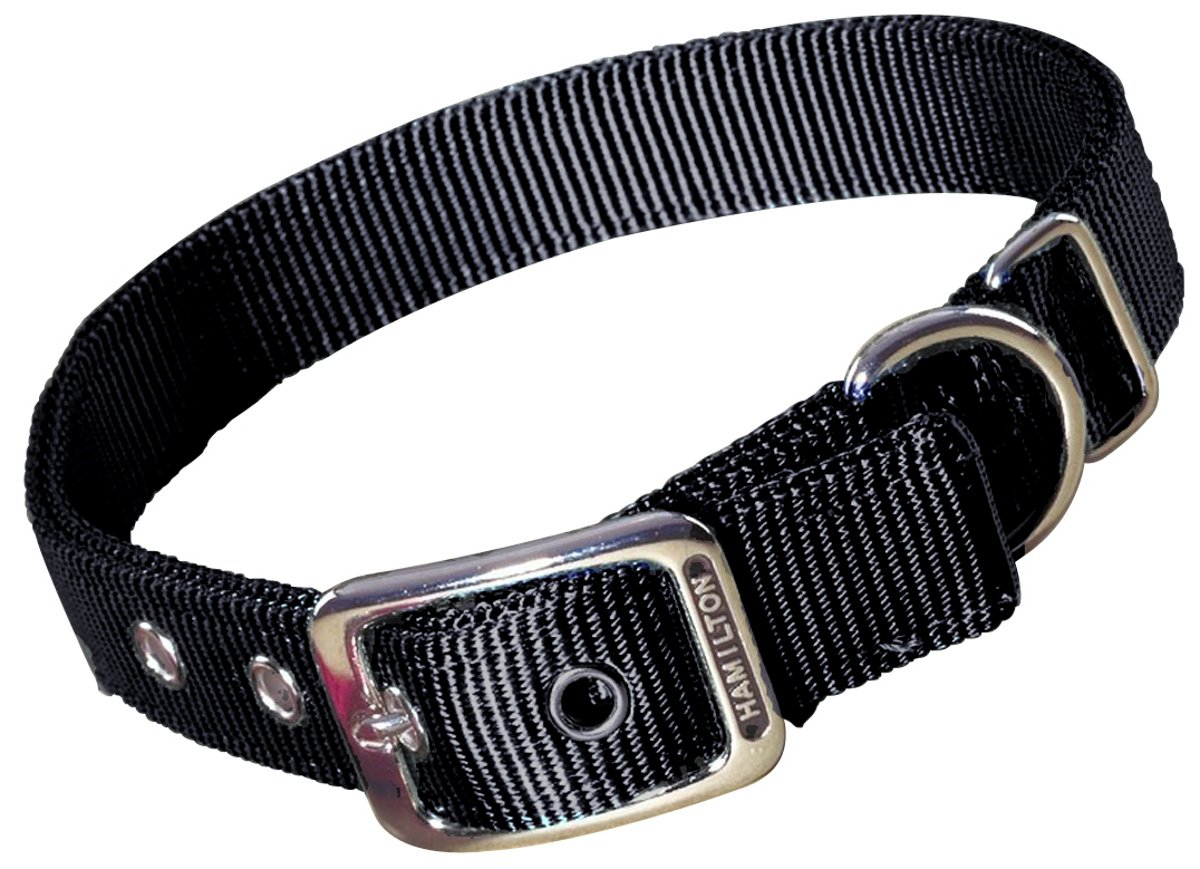 Hamilton Double Thick Nylon Deluxe Dog Collar, 1-Inch by 30-Inch, Black
