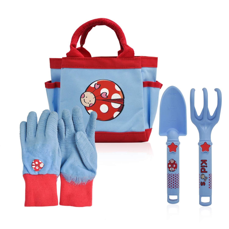 CERBIOR Kids Gardening Tools, 4 Piece Garden Tool Set Kids Gardening Gloves, Rake, Trowel, All in One Gardening Tote by CERBIOR