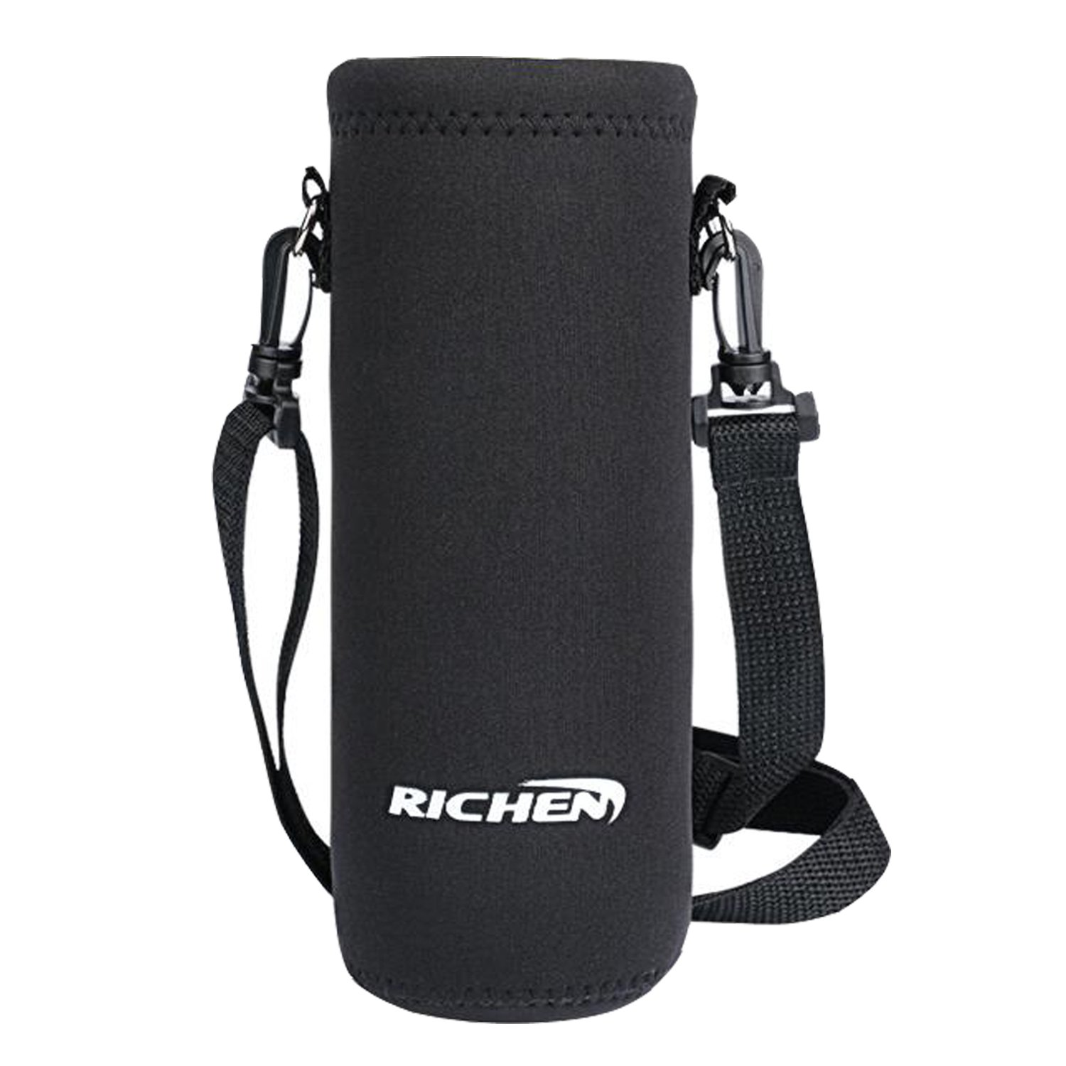 Richen Insulated Water//Wine//Tea Bottle Carrier Sling Bag Pouch Case with Shoulder Strap,Bottle Holder Cross-Body Shoulder Bag for Outdoor Sports Camping Travel,Black