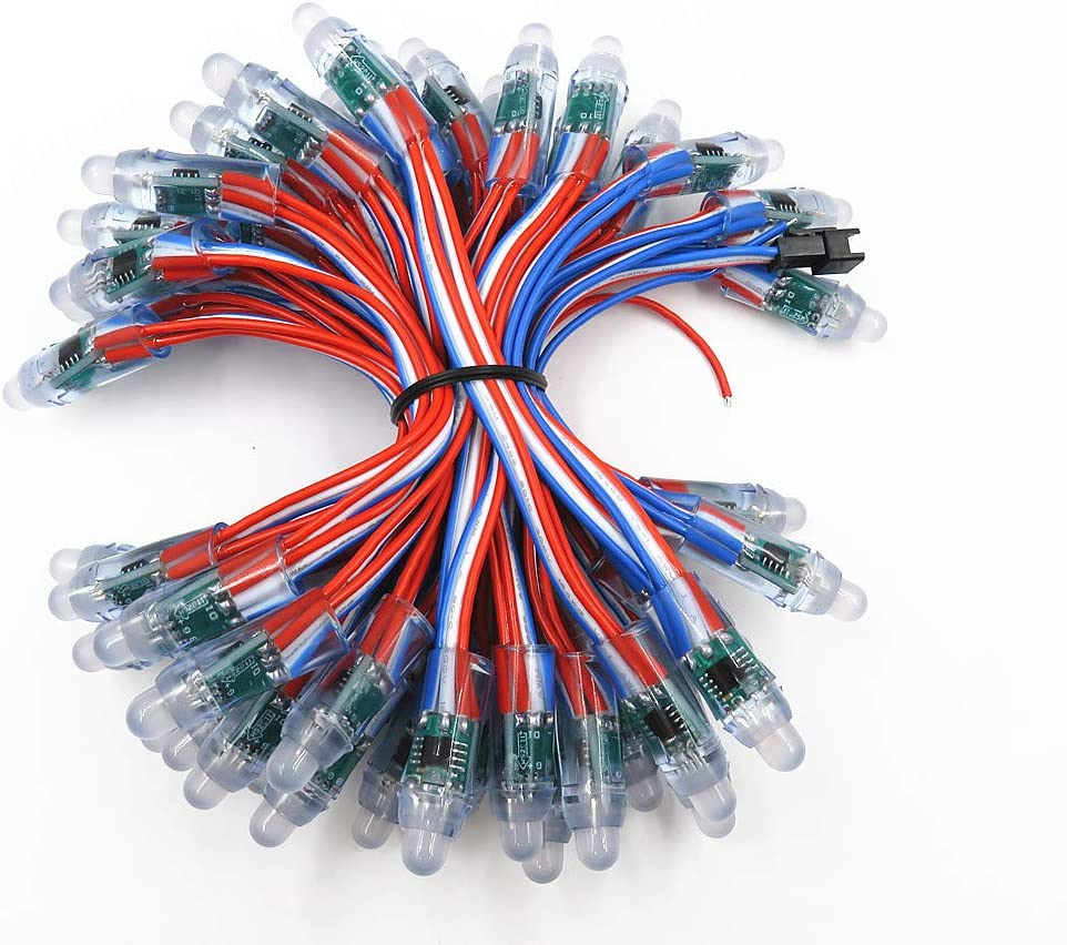 50pcs WS2811 RGB Full Color Pixels 12mm LED String Waterproof DC 5V Black Wire