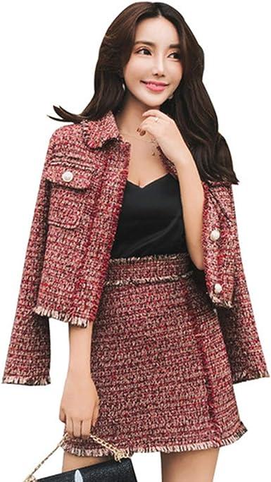 Conjuntos de Falda de Mujer Chaqueta de Tweed de Lana con borlas ...