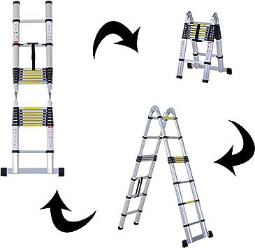 Escalera Doble Telescopica de Alumnio Plegable 3,8m Extensible 6+6 Peldaño 150kg (8 Peldaños): Amazon.es: Bricolaje y herramientas