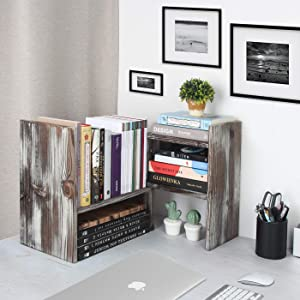 J JACKCUBE DESIGN Rustic Desktop Bookshelves Adjustable Wood Display Shelf for Home Office Dorm Aesthetic Room Décor Storage Desk Organizers and Accessories Rack - MK563A