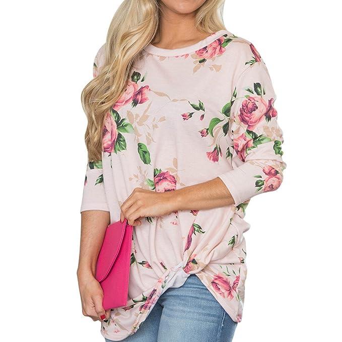 Camisas Mujer 2018, BBestseller Nuevo Blusas para Camisas largas Mujer Vaquera Sexy Cuello Redondo Casual Polyester Top de Manga Larga con Imprimir de ...