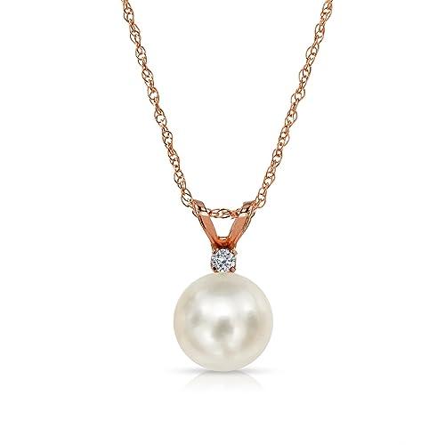 54870f5facf3 14 K oro agua dulce perla cultivada diamante cadena collar colgante joyas  1 100 quilates  Amazon.es  Joyería