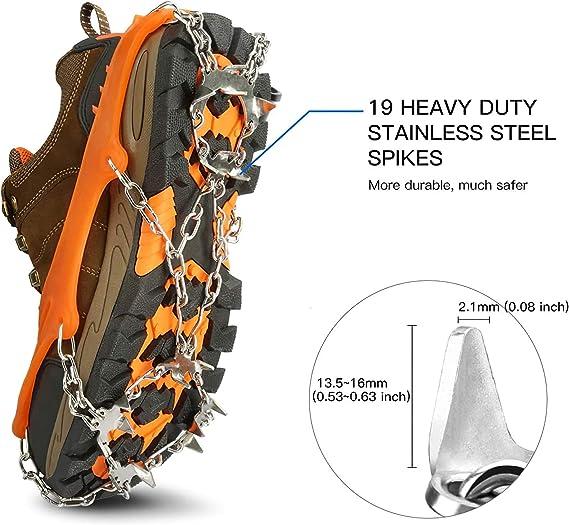 M Ice Neige Grips Chaussures Crampons Traction Pr/éhenseurs Crampons avec 19 Orange Spikes pour la randonn/ée descalade sur Neige et la Glace