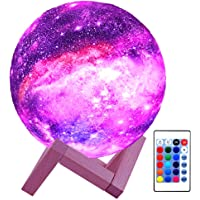 HYODREAM 3D Printing Moon Lamp Moon Light Kids Night Light 16 Color Change Touch and Remote Control Star Light As a Gift…
