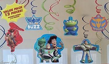 Amazon.com: (12) Toy Story lámina de colgar decoraciones de ...