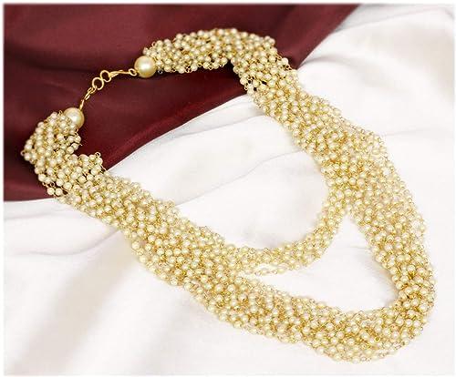 Amazon Com Sanara Traditional Pearl String Pakistani Necklace