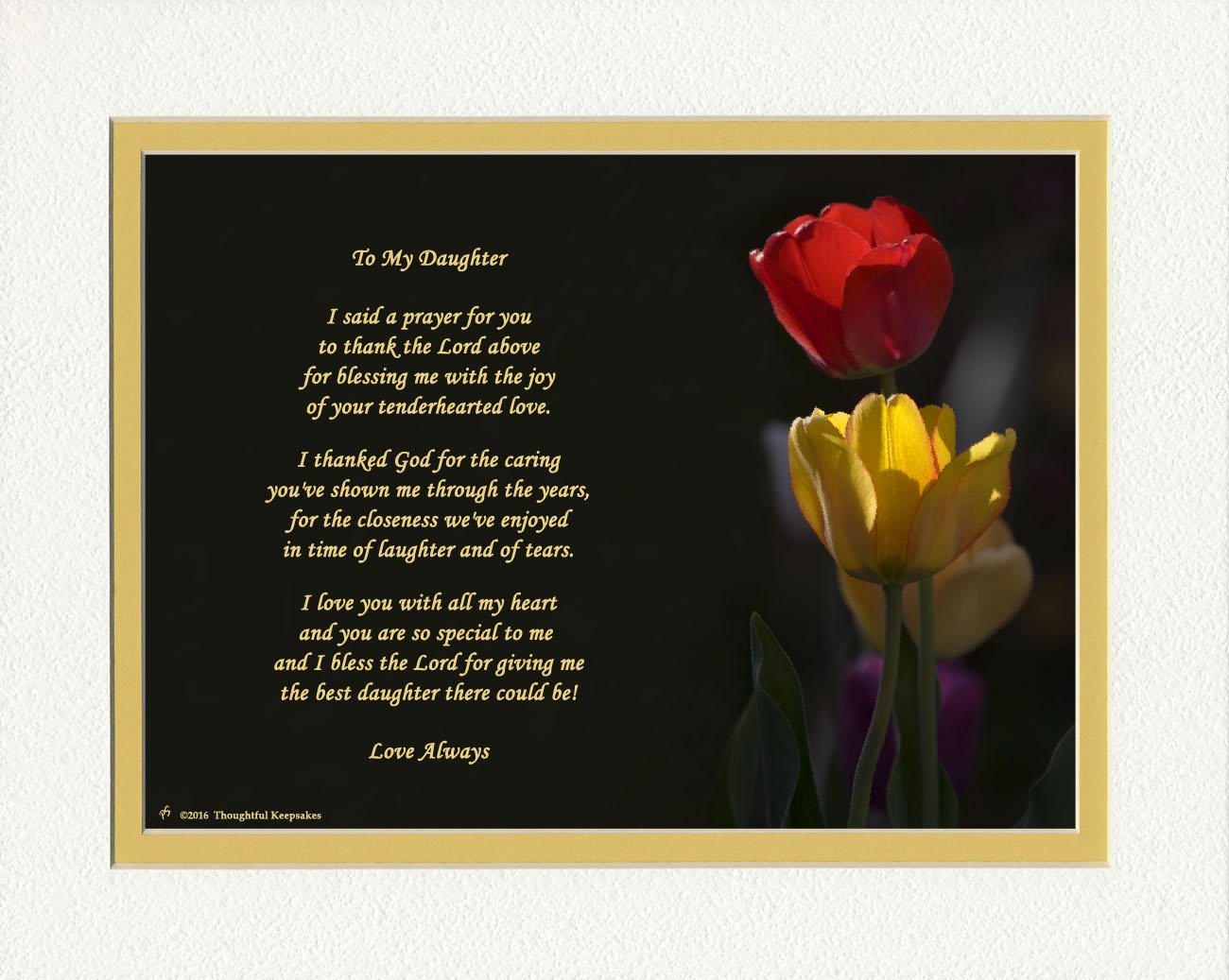 Daughter Gift with ''Thank You Prayer for Best Daughter'' Poem. Tulips Photo, 8x10 Double Matted. Special Birthday or Christmas Gift for Daughter.