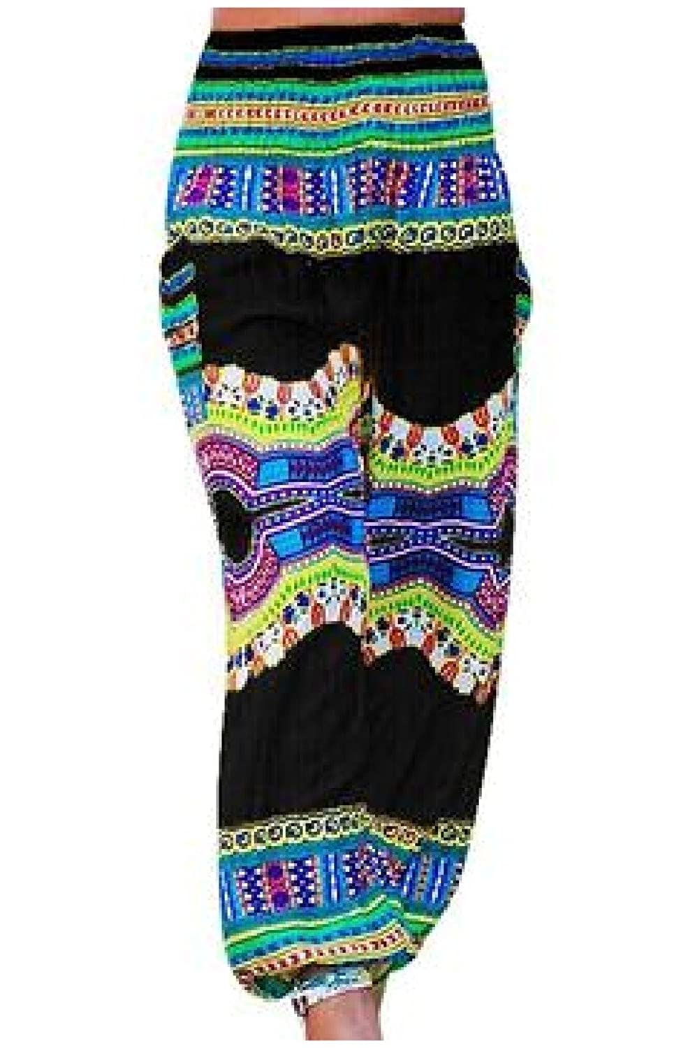 e33b474627afb3 delicate Mascoo Women's Navajo Floral Print Casual Bloomers Pants Black S