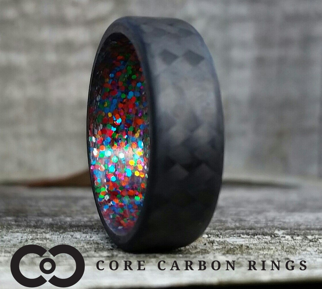 Carbon fiber twill ring with multi sparkle inside