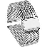 Beauty7 Silber Modeschmuck Milanaise Maschen Edelstahl Uhrenarmband Uhrarmband Watchband mit Faltschließe 18mm/20mm/22mm/24mm mit oder Ohne Werkzeug