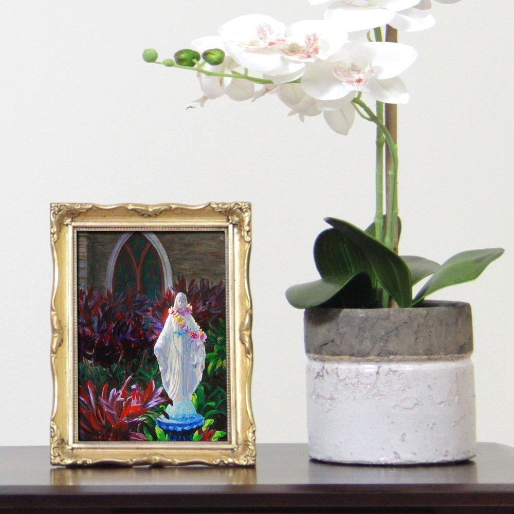 Statue of Mary in Hawaiian Lei 5x7 Art Print Catholic Statue Painting by Karen Whitworth