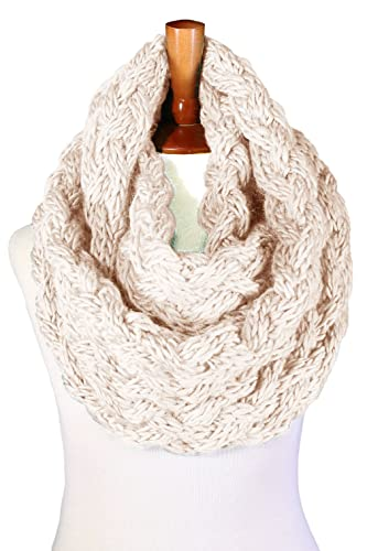 Basico Women Winter Warm Knit Infinity Scarf Tassels Soft Shawl ** Various Colors **