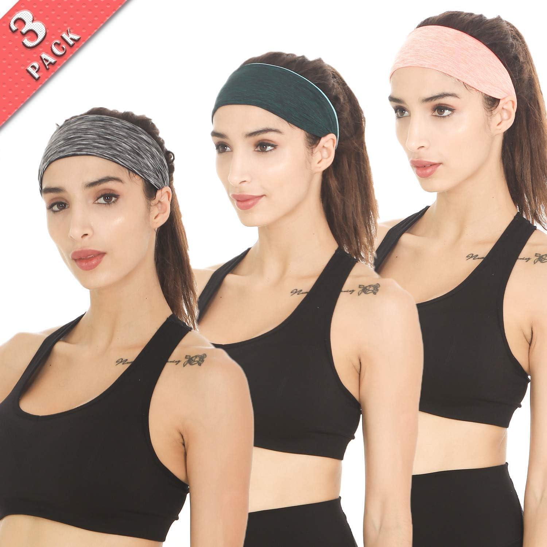 Braylin Women's Headbands, 3 Pack Sweat Workout Headbands for Women, Sport Cooling Headbands for Running Crossfit Fitness Yoga Cycling Hiking, Elastic Sweat Wicking Non Slip