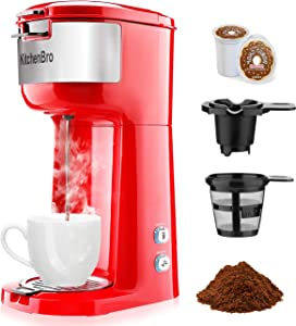 KitchenBro Single Serve Coffee Maker-Compatible for K-Cup Pod Capsule & Coffee Ground,Rapid Brewing Coffee Machine,Compact Size,6-14oz Water Reservoir,Red