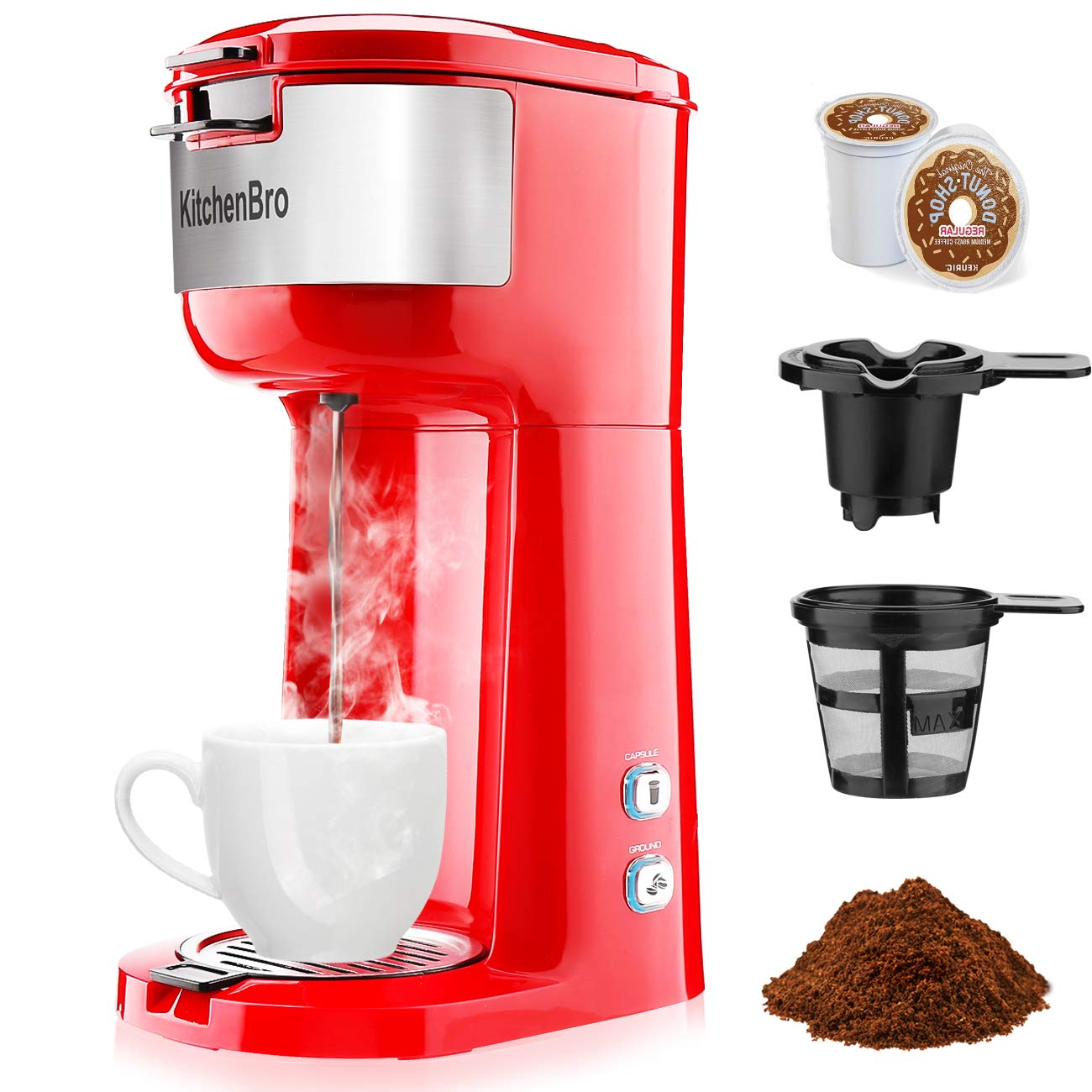 KitchenBro Single Serve Coffee Maker-Compatible for K-Cup Pod Capsule & Coffee Ground,Rapid Brewing Coffee Machine,Compact Size,6-14oz Water Reservoir,Red by KitchenBro