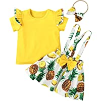Toddler Infant Baby Girl Ruffle Sleeve Ribbed Shirt Top + Floral Suspender Skirt Headband Set Summer Clothes Outfits