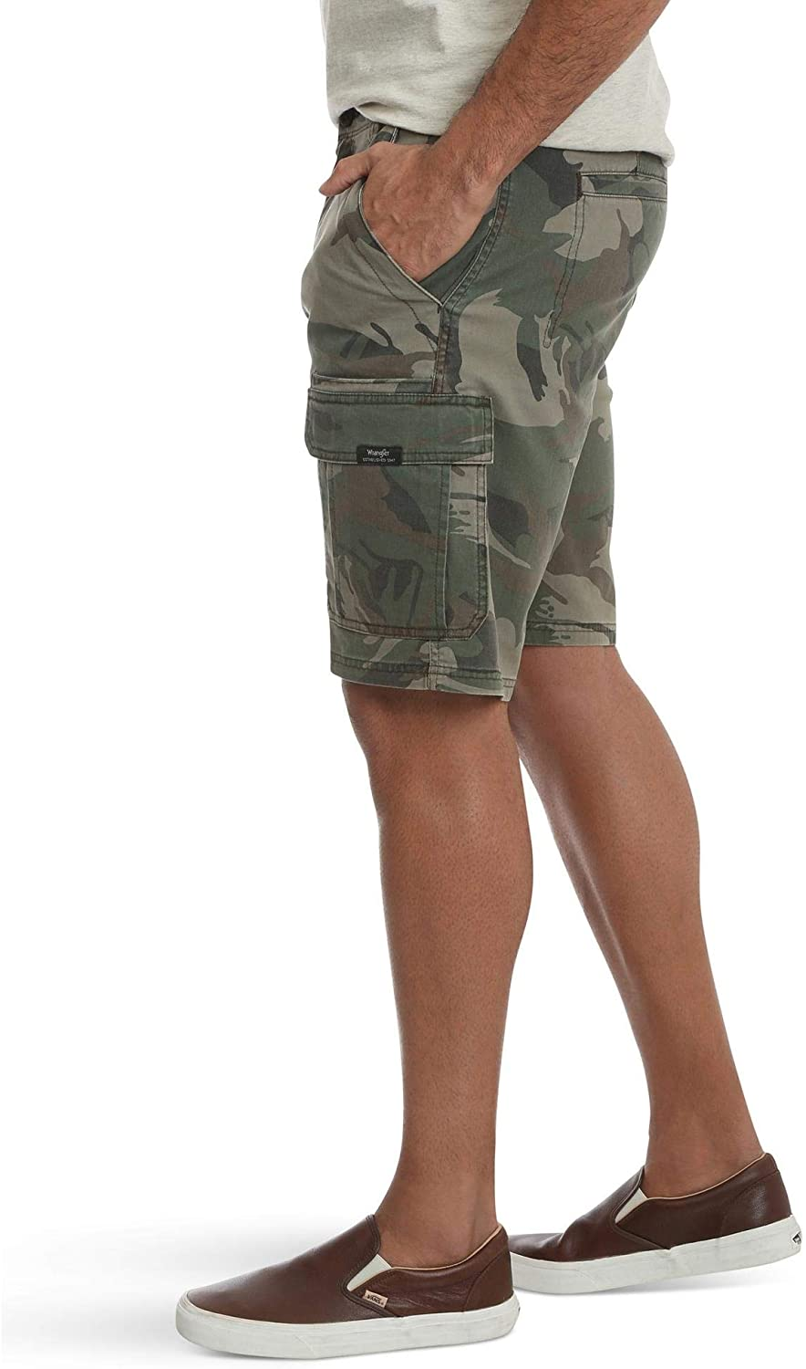 Wrangler Green Camo Camouflage Relaxed Fit at Knee Flex Cargo Shorts