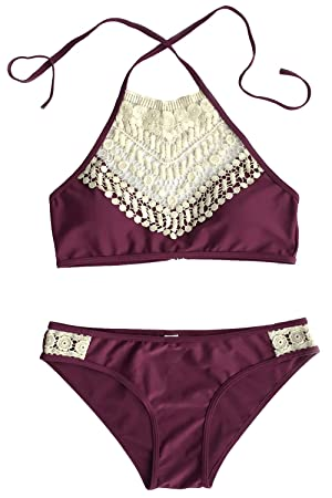 Cupshe Fashion Women's Lace Splicing Halter Padding Tank Bikini Set (L)