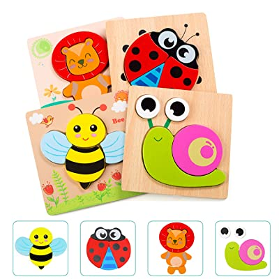 Wooden Puzzles for Toddlers, WOOD CITY Kids Montessori Toy for Fine Motor Skill, Preschool Learning & Educational Puzzles with 4 Animal Patterns, Gift for Boys and Girls1 2 3 Years Old: Toys & Games
