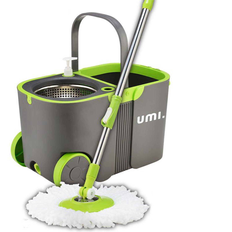 Eono Essentials - Spin Mop, Sistema lavapavimenti con secchio, mocio in microfibra, strizzatoio automatico, in acciaio inox WXD