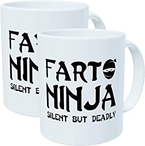 2-PACK Fart Ninja - Funny Mugs 11OZ, novelty and gift, dad, by Yates And Franco