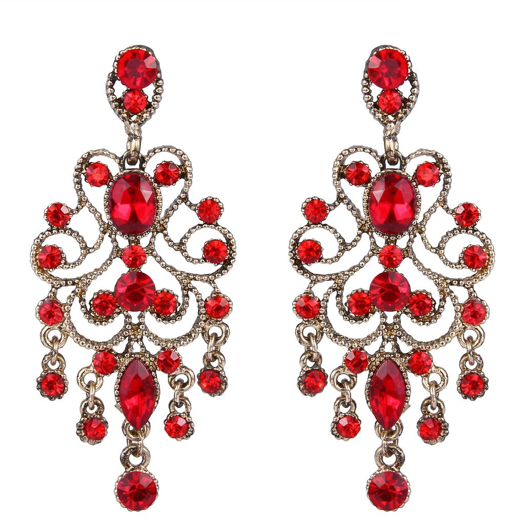 BriLove Antique-Gold-Toned Dangle Earrings Women's Vintage Style Bridal Crystal Drop Hollow Filigree Chandelier Earrings Ruby Color