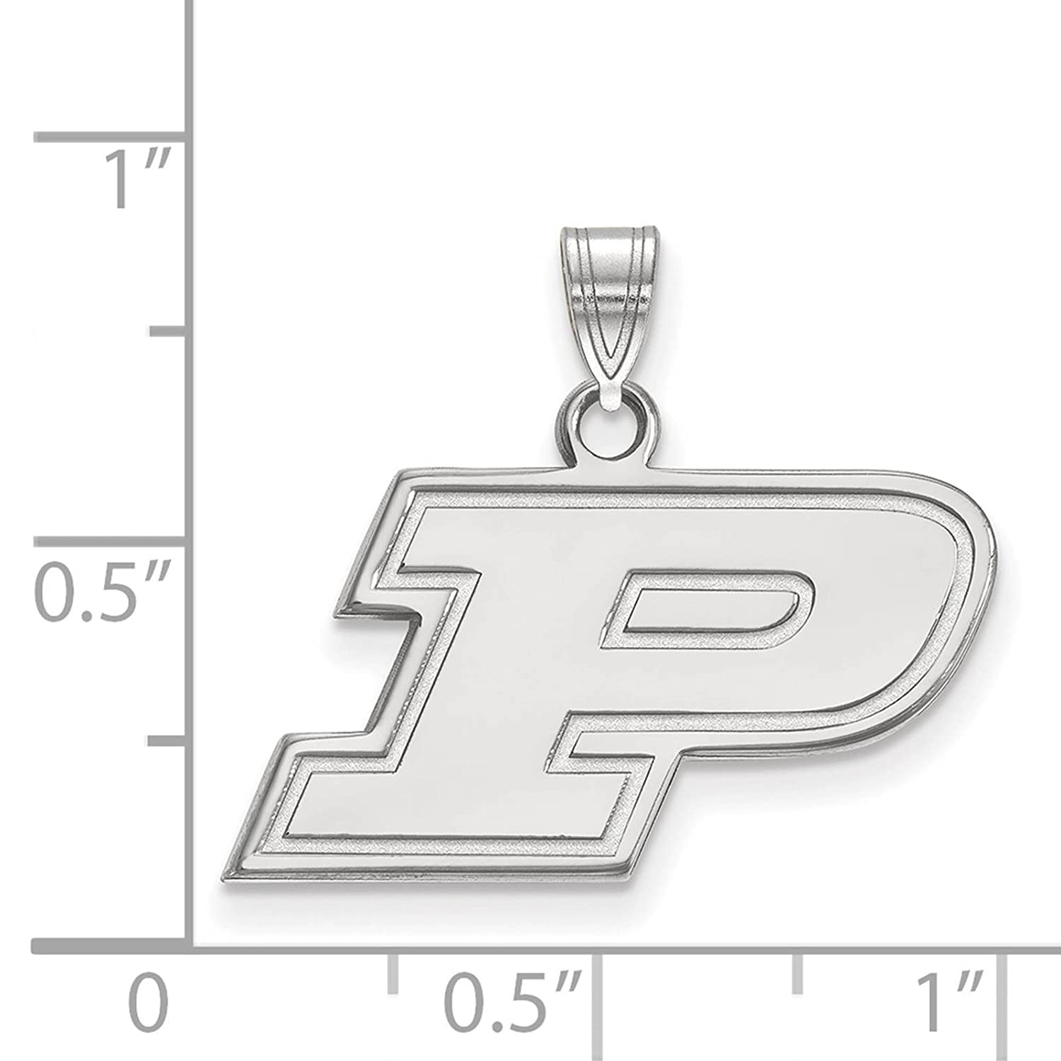 925 Sterling Silver Rhodium-plated Laser-cut Purdue University Small Pendant