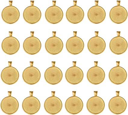 Antique Brass Colour Dcatcher 24 PCS Bezel Pendant Trays Round Cabochon Settings Trays Pendant Blanks 25mm Diameter