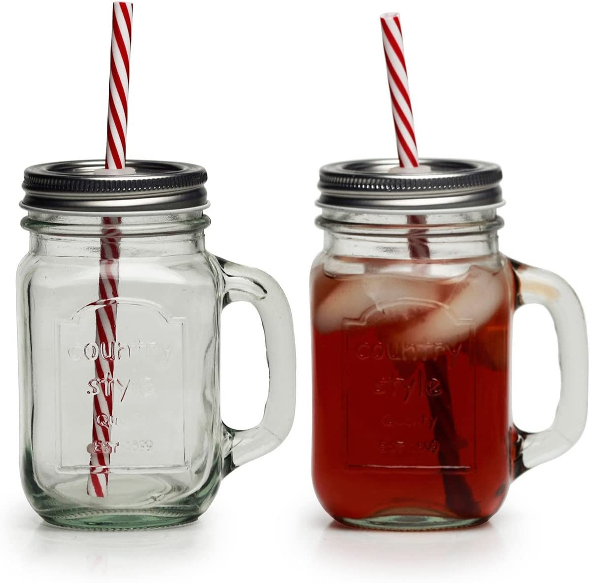 Amazon Com Circleware Country Glass Yorkshire Jar Drinking Handles Metal Lids And Mason Mugs 15 Ounce Clear Limited Edition Glassware Hard Plastic Reusable Straws Set Of 4 Kitchen Dining
