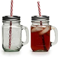 Circleware Country Glass Yorkshire Mason Jar Drinking Mugs with Handles, Metal Lids and Hard Plastic Reusable Straws,...