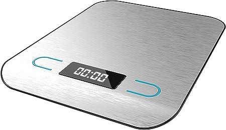 Cecotec Báscula de Cocina Digital Cook Control 8000. Alta precisión, Acero Inoxidable, Diseño Extraplano, Pantalla LCD Retroiluminada, Capacidad Máxima 5 Kg con Precisión de 1 g: Amazon.es: Hogar