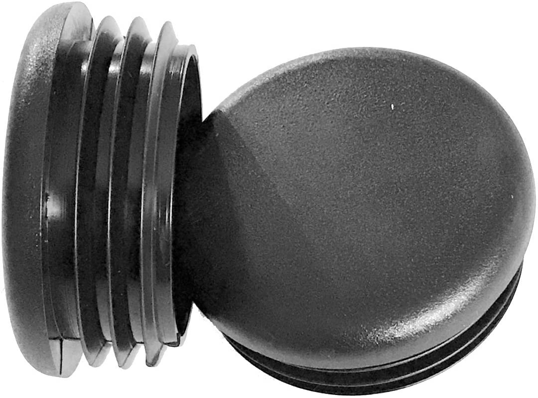 """(Pack of 8) - 2"""" Round Black Plastic Tubing Plug (10-14 Ga 1.740""""-1.830"""" ID) 2 Inch End Cap - Steel Furniture Pipe Tube Cover Insert 