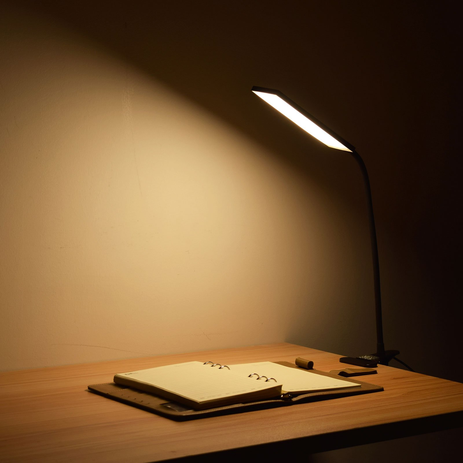 LED Desk Lamp, RAOYI Eye-Care Dimmable Flexible Gooseneck USB Table Lamp, 3 Color Temperatures, 14 Brightness Levels Clip Reading Lamp for Studying, Working, Black by RAOYI (Image #7)