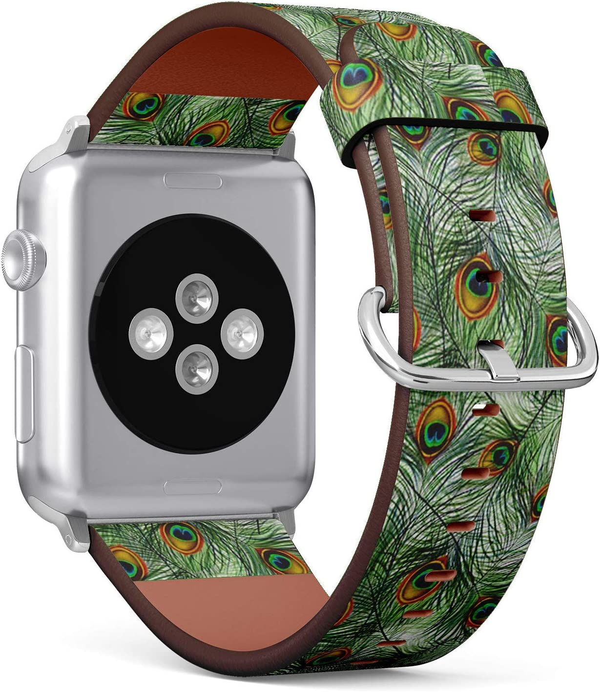Compatible with Apple Watch 38mm & 40mm (Series 5, 4, 3, 2, 1) Leather Watch Wrist Band Strap Bracelet with Stainless Steel Clasp and Adapters (Beautiful Peacock)