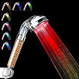 Pommeau De Douche, CNASA Pommeau Douche l'eau à LED Changement 7 couleurs Eau Chaude Pulvérisateur Rainbow Waterfall Chlorine Filter (Pommeau de douche 4LED Couleurs)