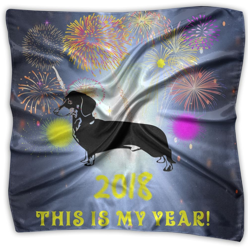 Year Of The Dog Dachshund Women's Fashion Print Square Scarf Neckerchief Headdress M by Scarlets